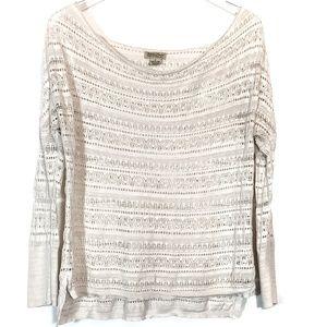 Lucky Brand Long Sleeve Sheer Wool Crochet Top